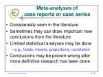 meta analyses of case reports or case series