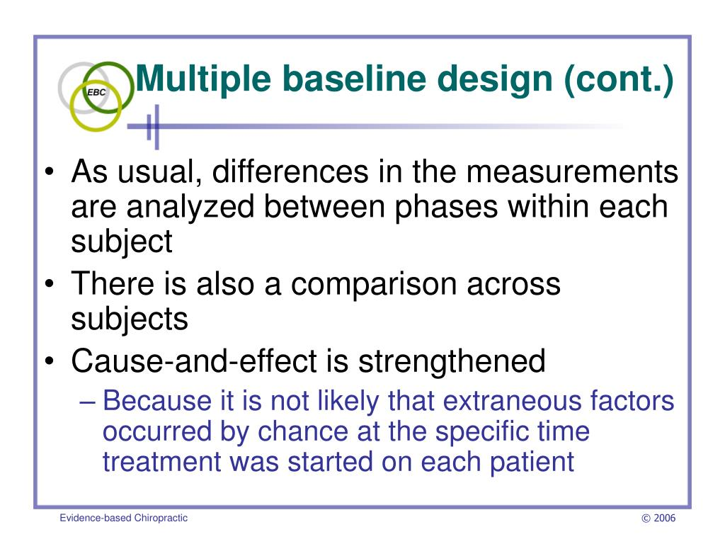 Multiple baseline design (cont.)