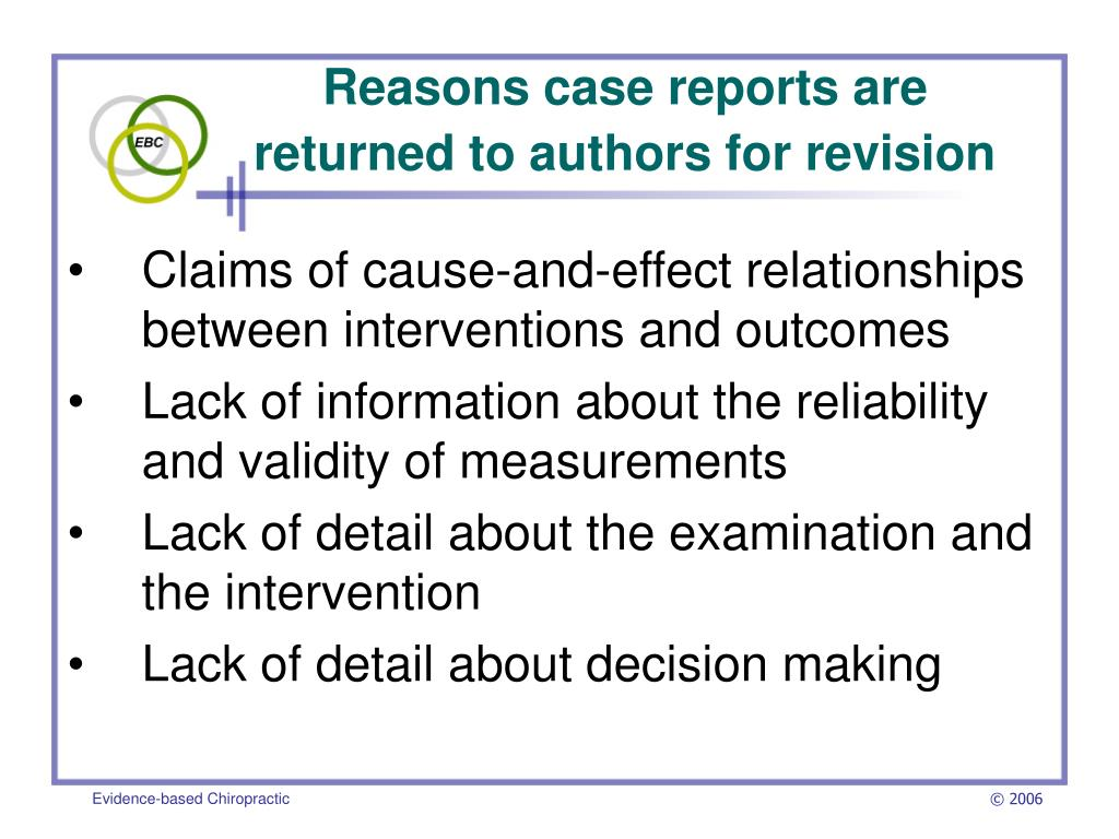 Reasons case reports are