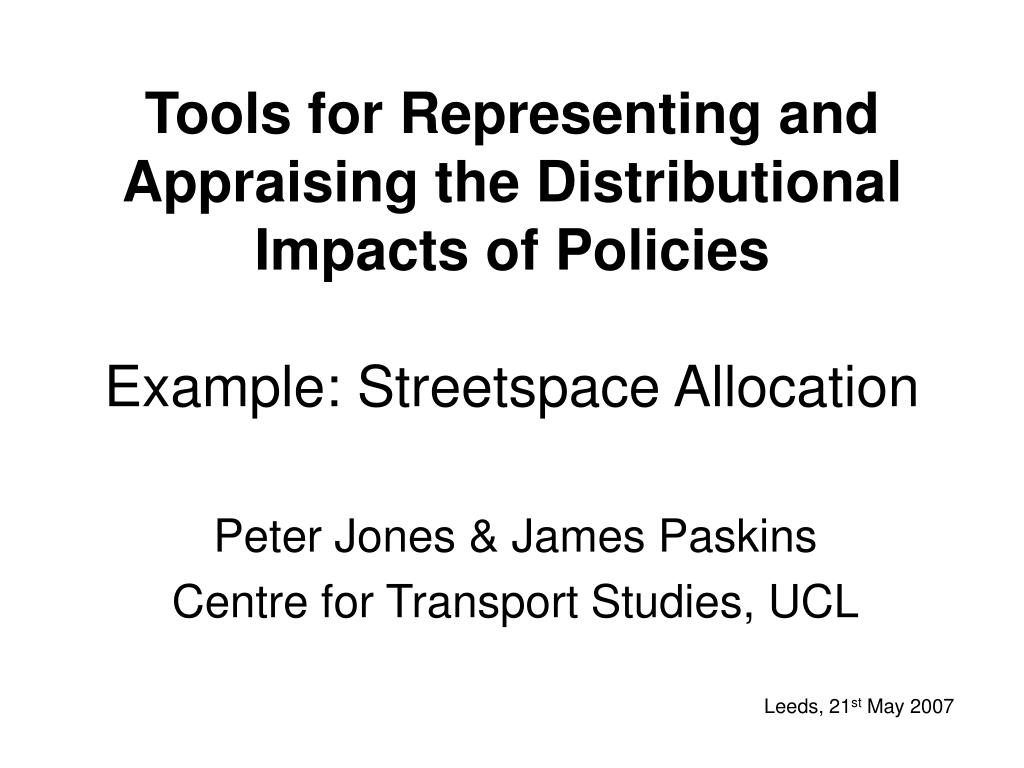 Tools for Representing and Appraising the Distributional Impacts of Policies