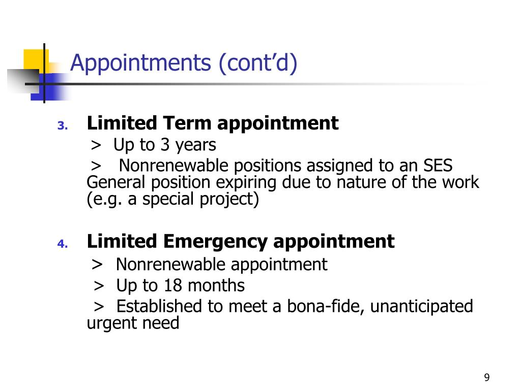 Appointments (cont'd)