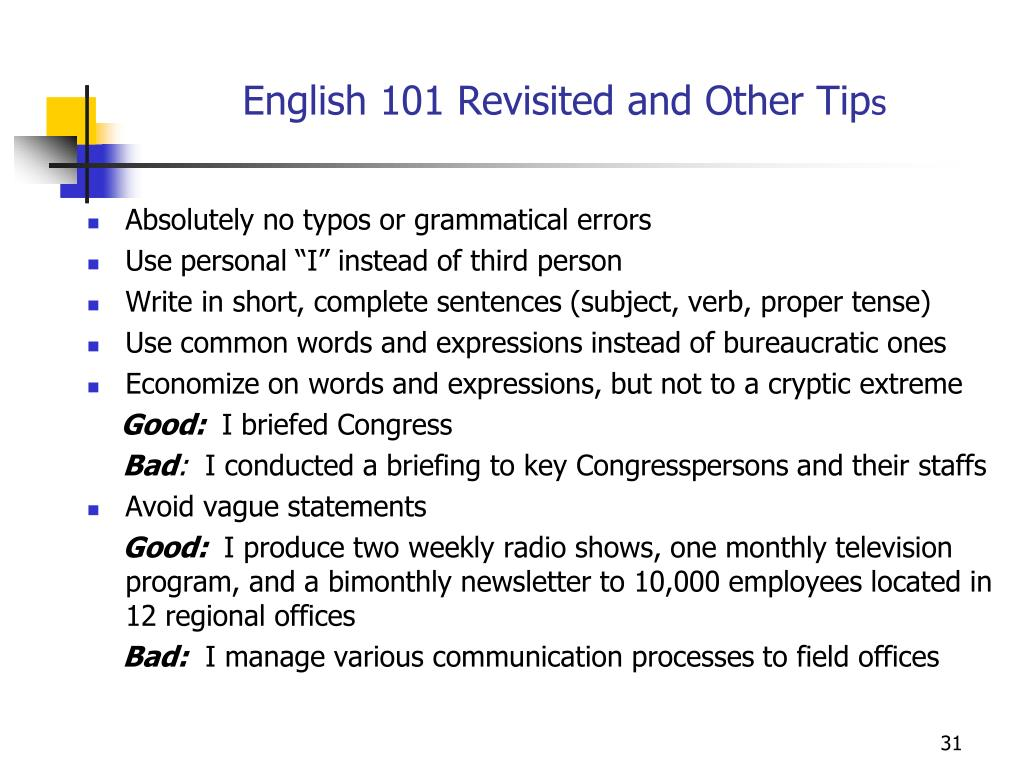 English 101 Revisited and Other Tip