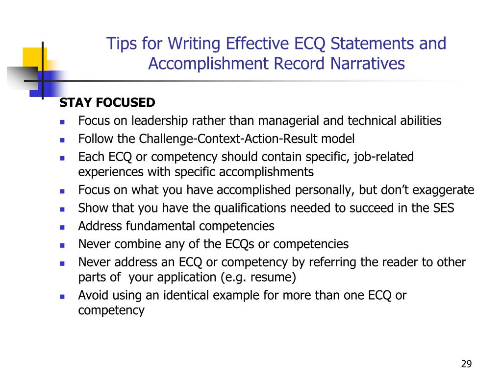 Tips for Writing Effective ECQ Statements and Accomplishment Record Narratives