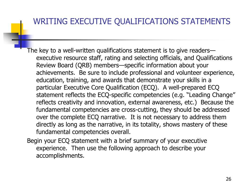 WRITING EXECUTIVE QUALIFICATIONS STATEMENTS