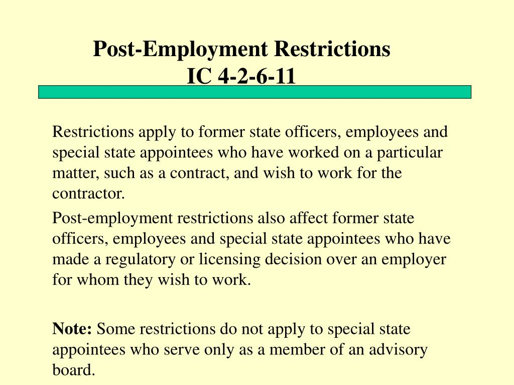 Post-Employment Restrictions