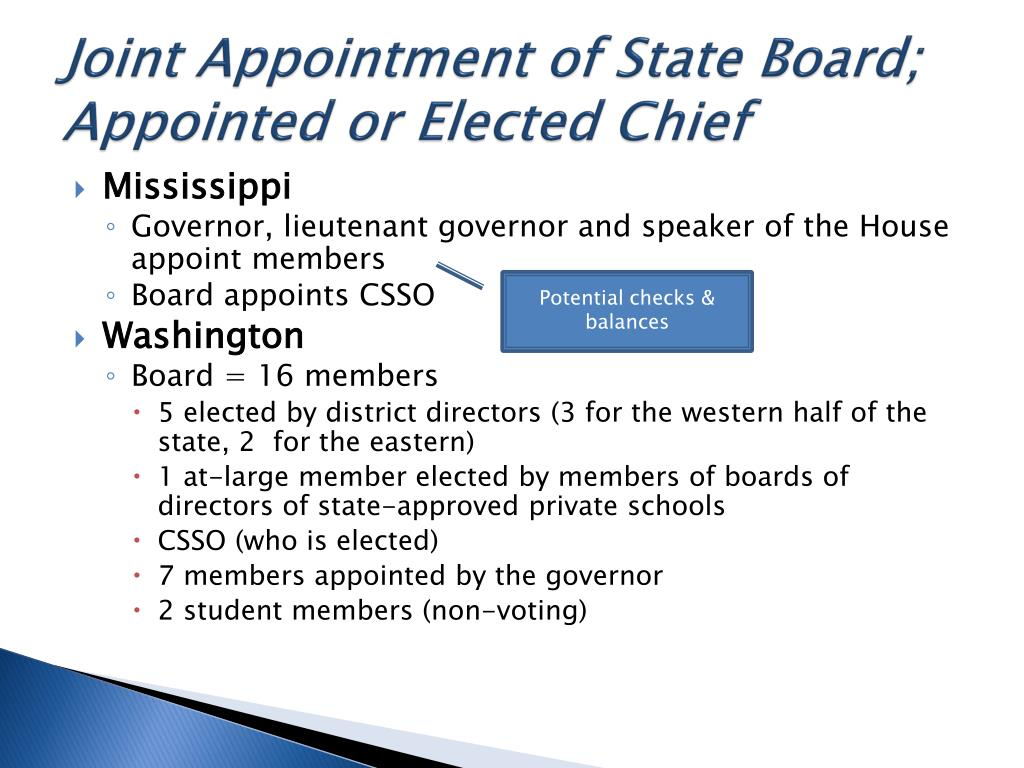 Joint Appointment of State Board; Appointed or Elected Chief