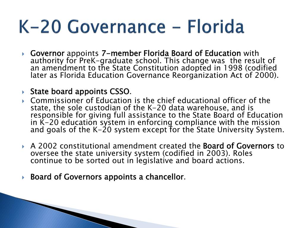 K-20 Governance - Florida