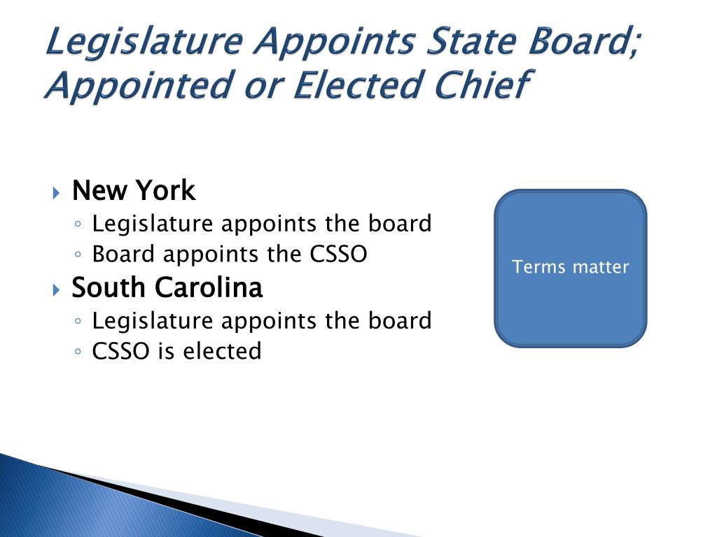 Legislature Appoints State Board; Appointed or Elected Chief