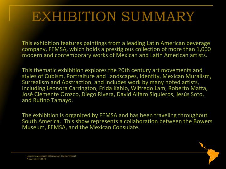 Exhibition summary