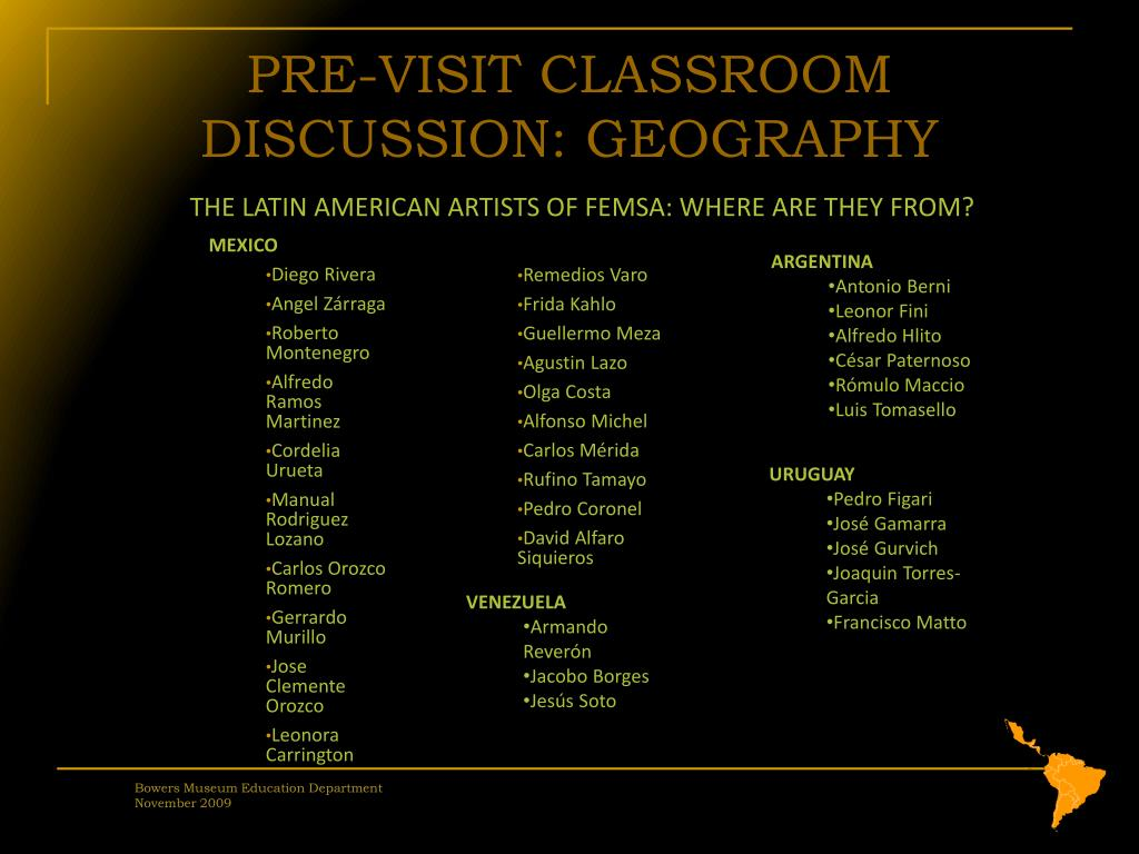 PRE-VISIT CLASSROOM DISCUSSION: GEOGRAPHY