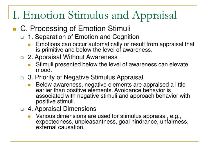 I emotion stimulus and appraisal3