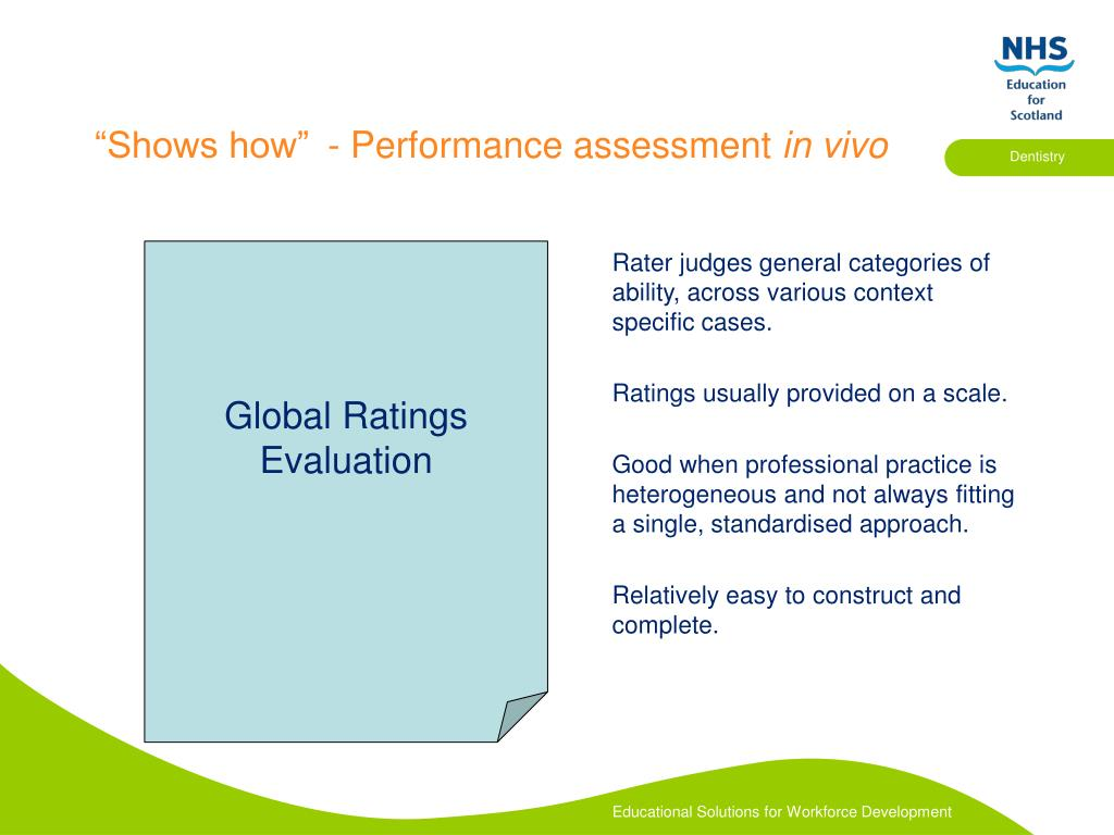 Rater judges general categories of ability, across various context specific cases.