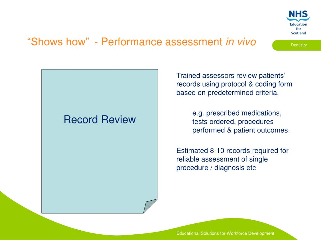 Trained assessors review patients' records using protocol & coding form based on predetermined criteria,