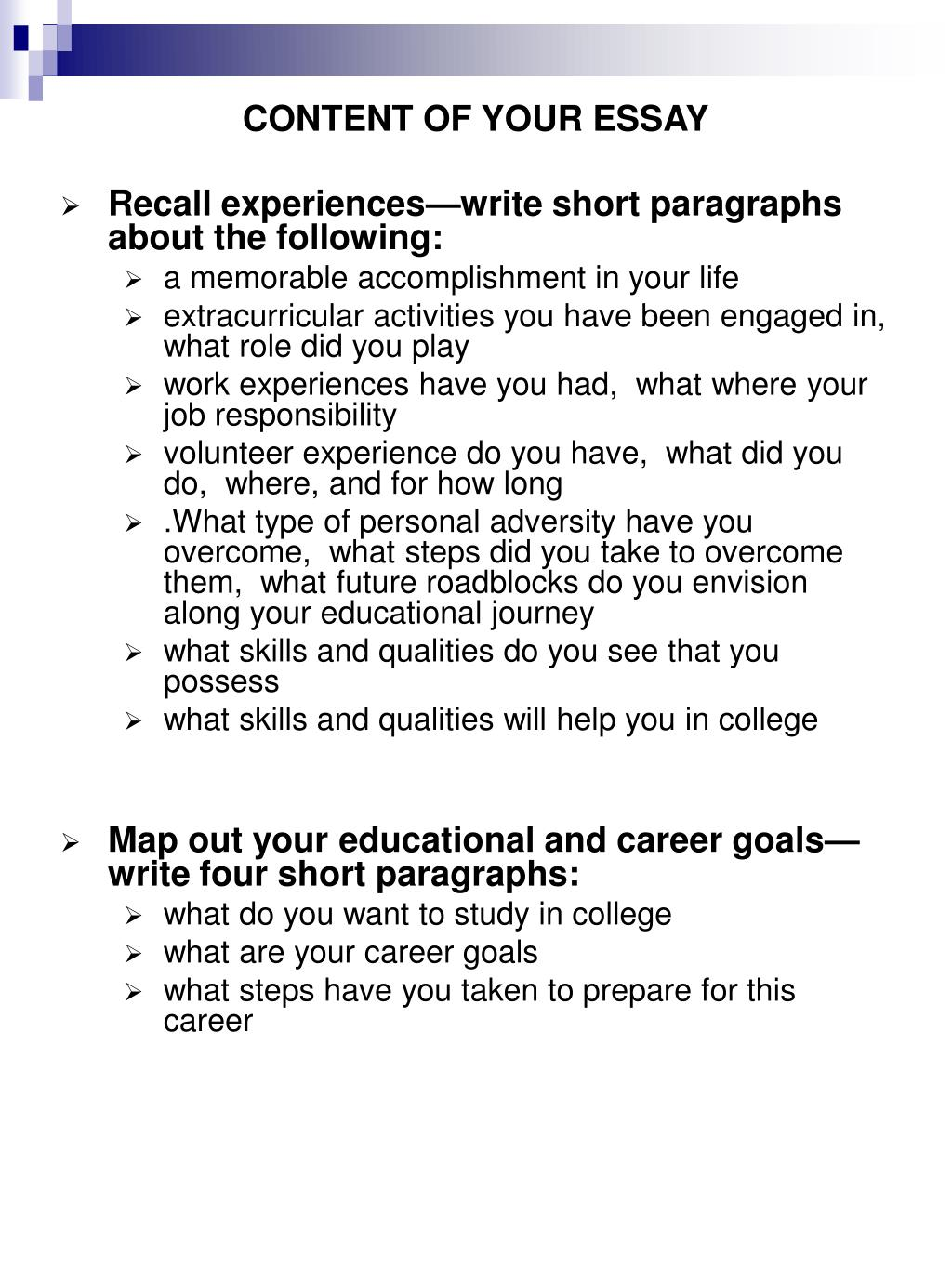 CONTENT OF YOUR ESSAY