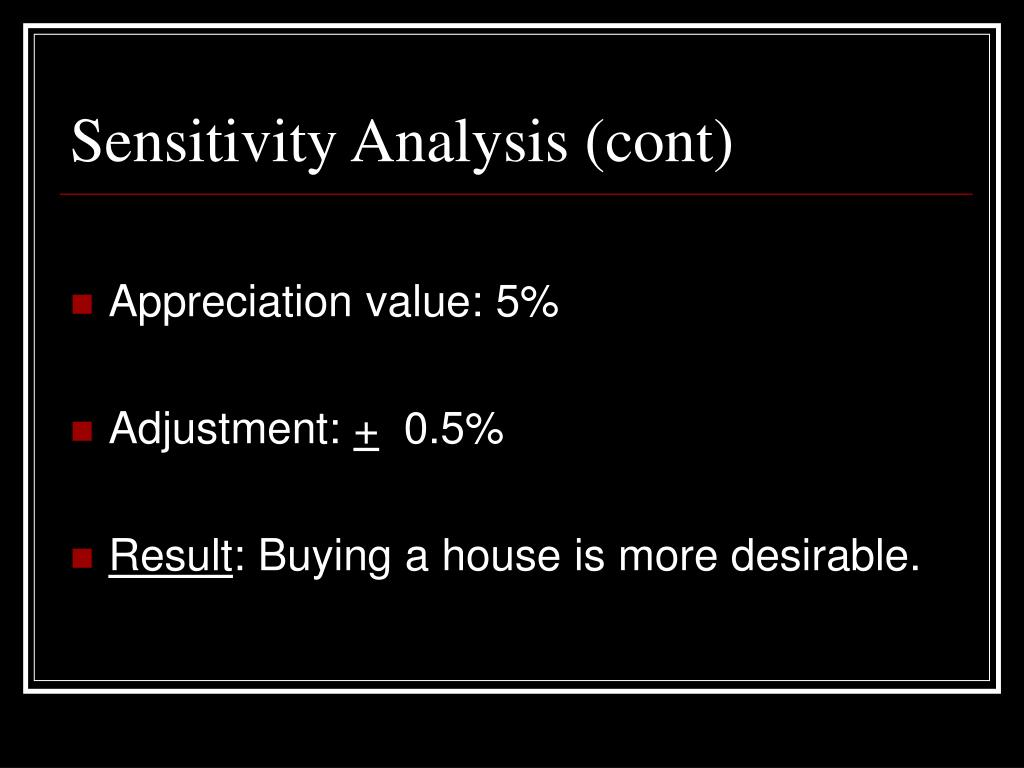 Sensitivity Analysis (cont)