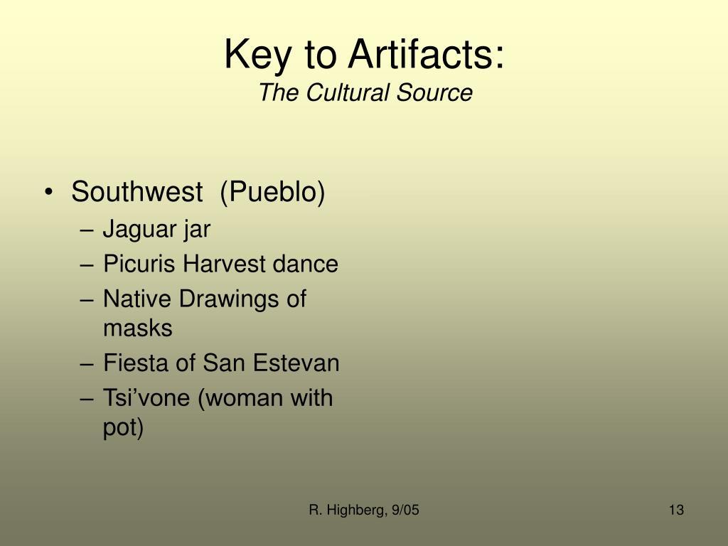 Key to Artifacts: