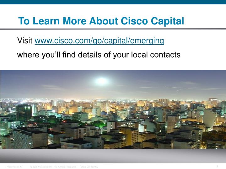 To Learn More About Cisco Capital