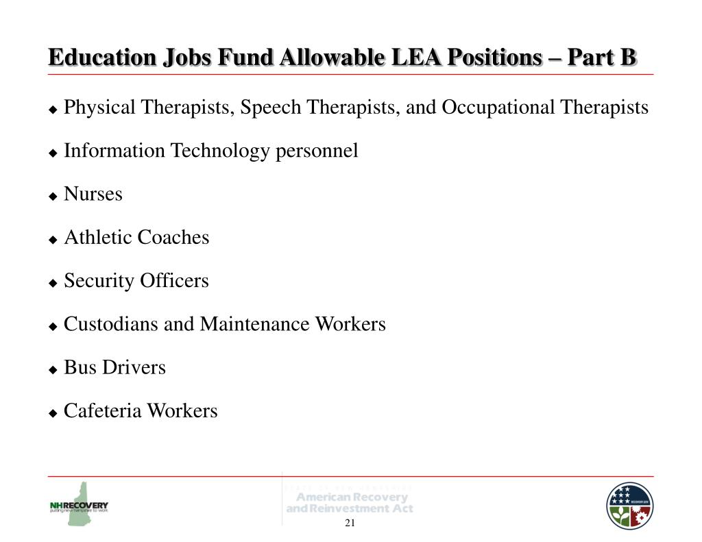 Education Jobs Fund Allowable LEA Positions – Part B