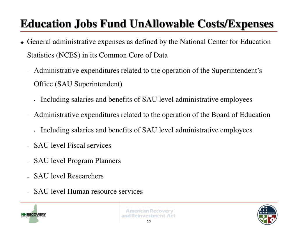 Education Jobs Fund UnAllowable Costs/Expenses