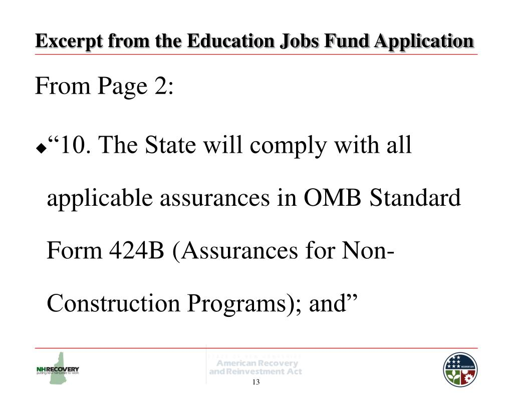 Excerpt from the Education Jobs Fund Application