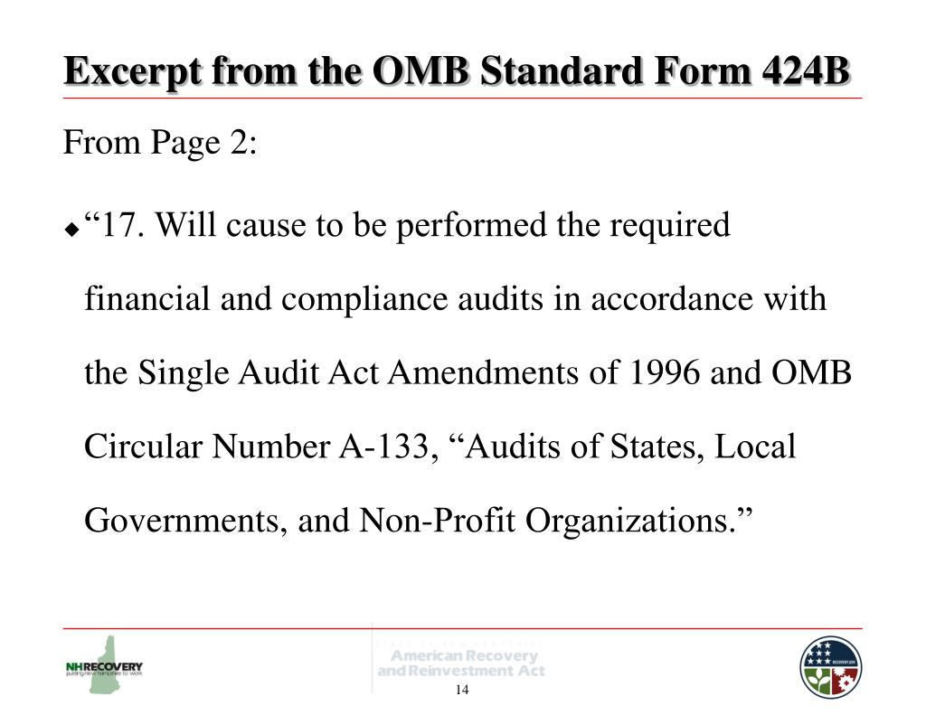 Excerpt from the OMB Standard Form 424B