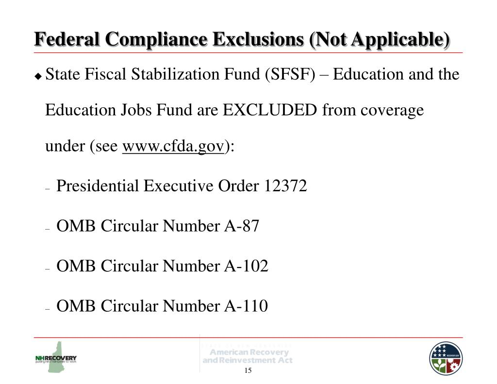 Federal Compliance Exclusions (Not Applicable)