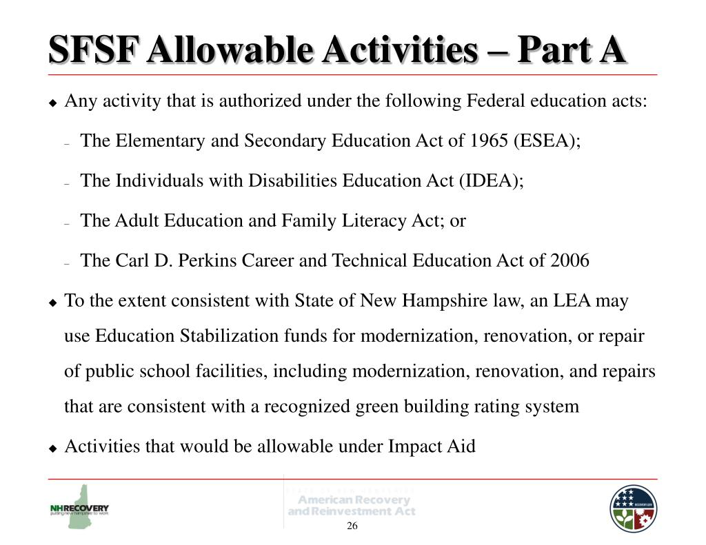 SFSF Allowable Activities – Part A