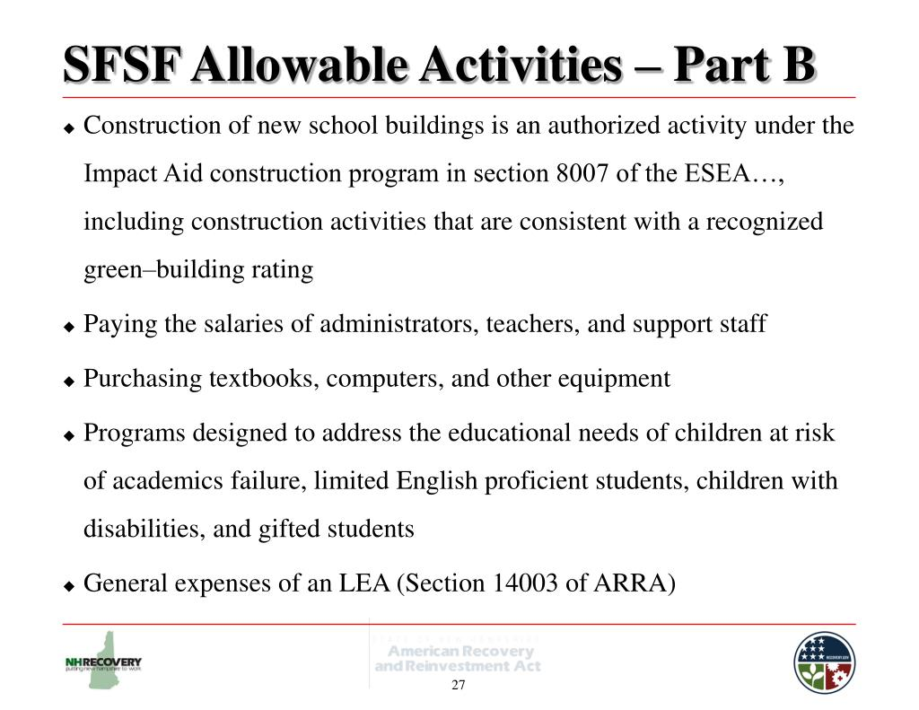 SFSF Allowable Activities – Part B