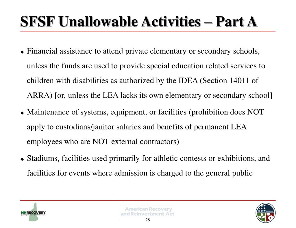 SFSF Unallowable Activities – Part A