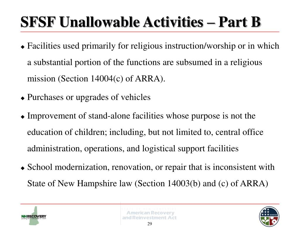SFSF Unallowable Activities – Part B