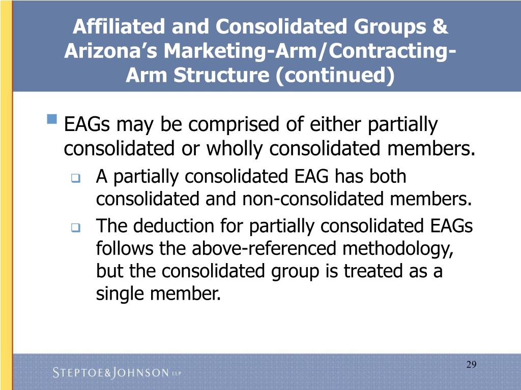 Affiliated and Consolidated Groups & Arizona's Marketing-Arm/Contracting-Arm Structure (continued)