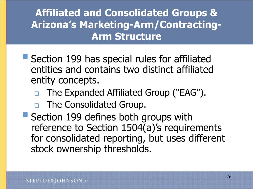 Affiliated and Consolidated Groups & Arizona's Marketing-Arm/Contracting-Arm Structure