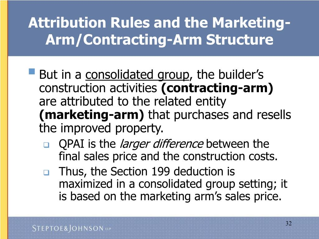 Attribution Rules and the Marketing-Arm/Contracting-Arm Structure