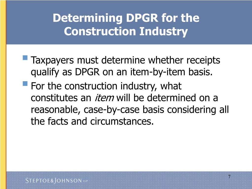 Determining DPGR for the Construction Industry