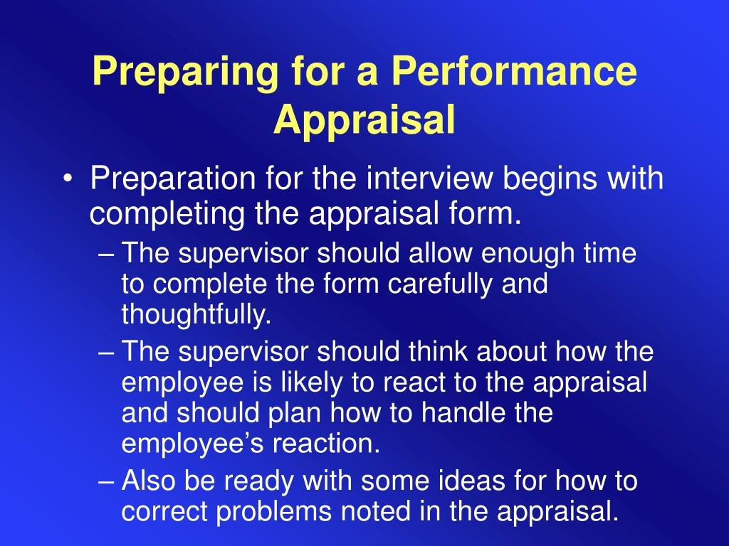 Preparing for a Performance Appraisal