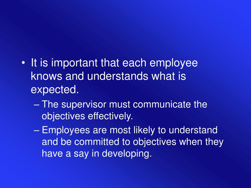 It is important that each employee knows and understands what is expected.