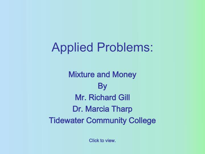 Applied problems