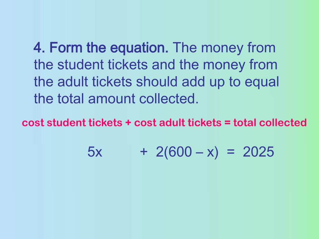 4. Form the equation.