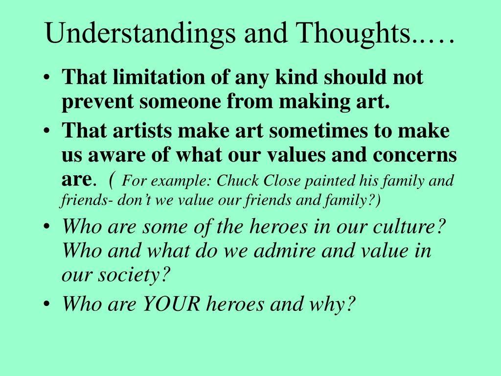 Understandings and Thoughts..…
