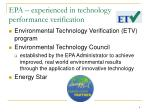 epa experienced in technology performance verification