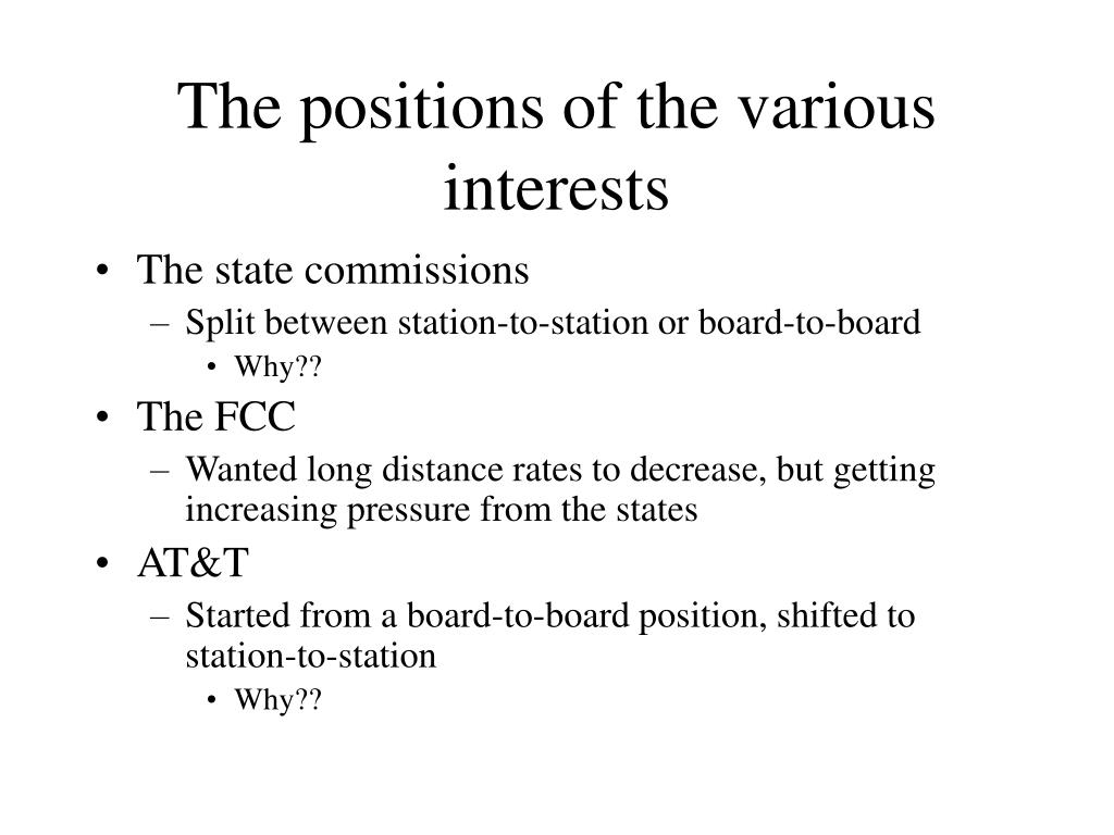 The positions of the various interests