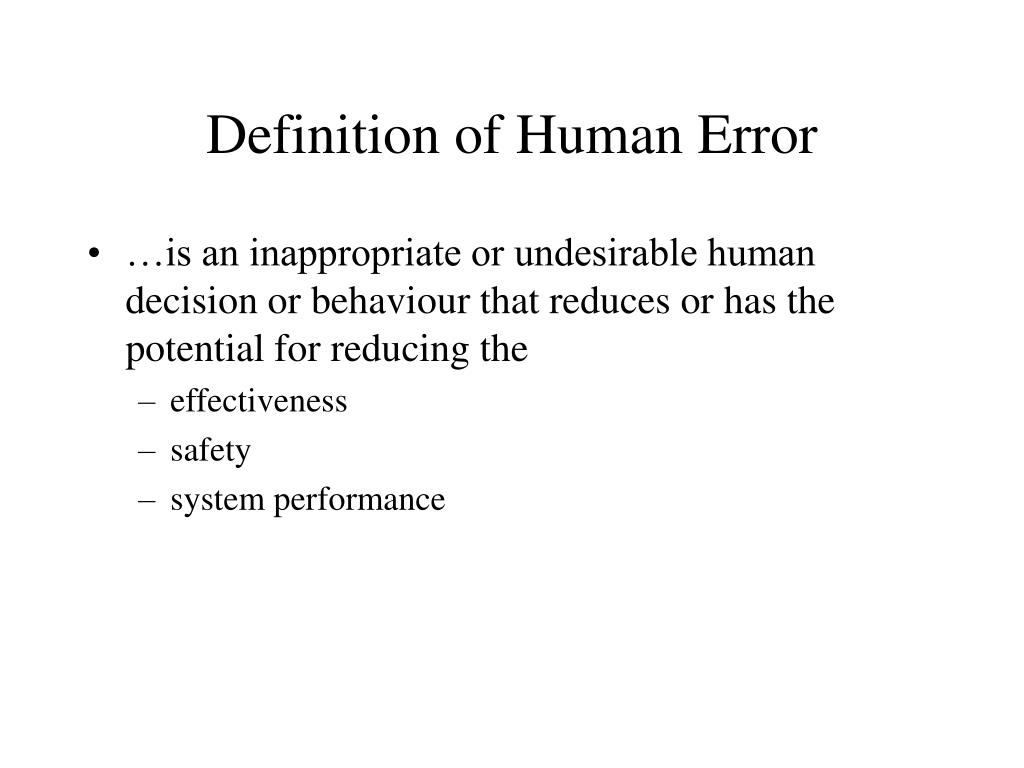 Definition of Human Error