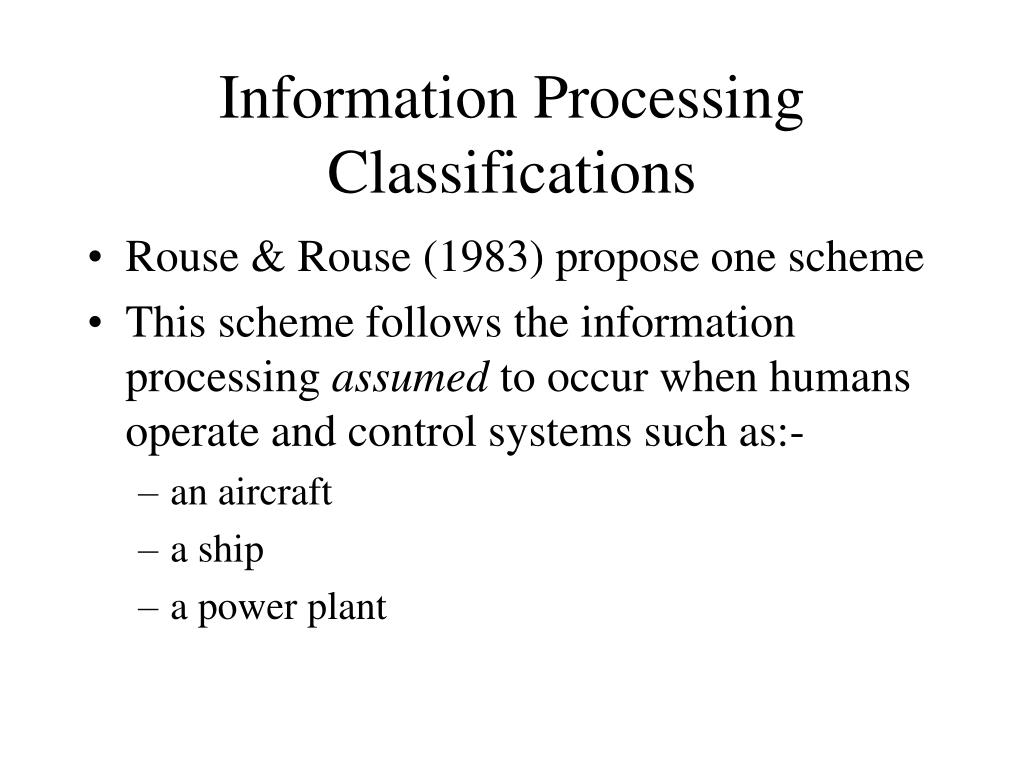 Information Processing Classifications