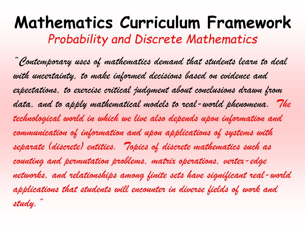 Mathematics Curriculum Framework