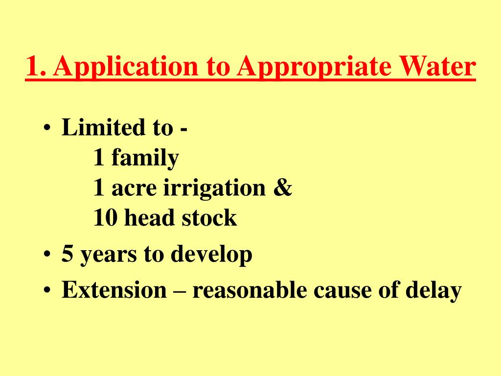 1. Application to Appropriate Water