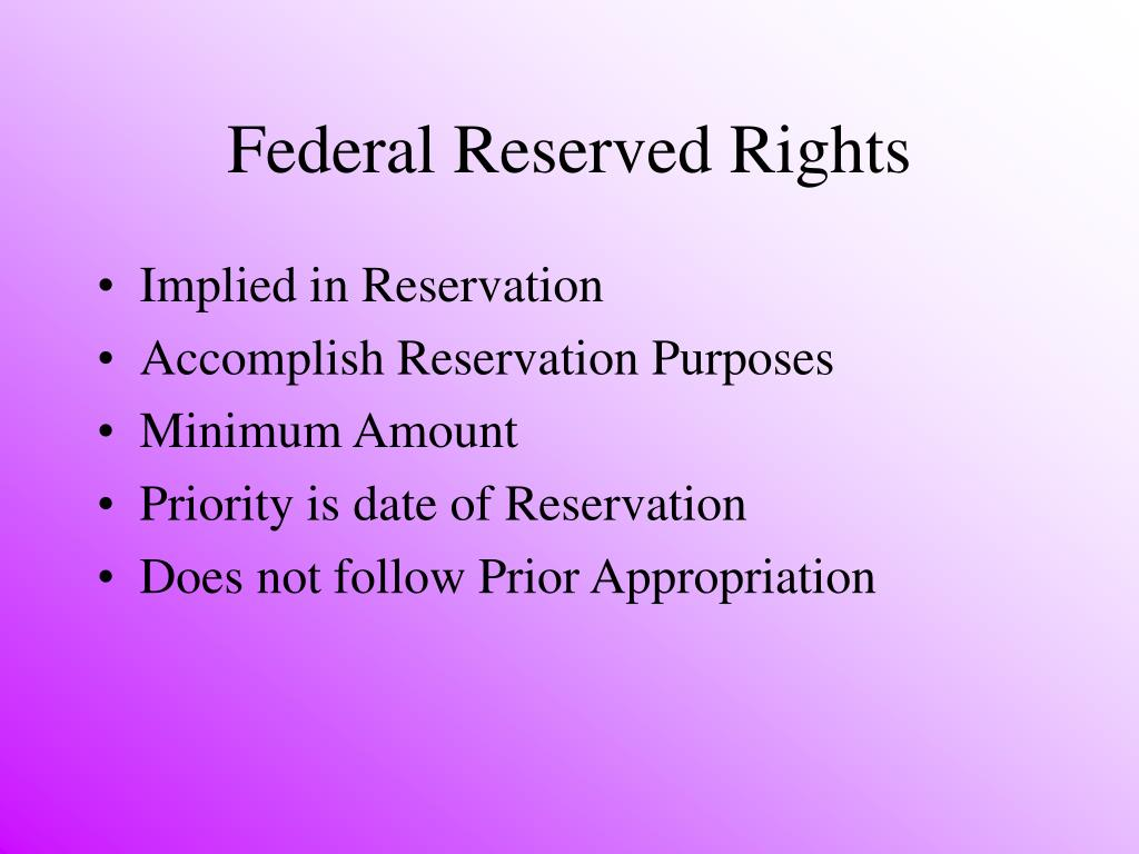 Federal Reserved Rights