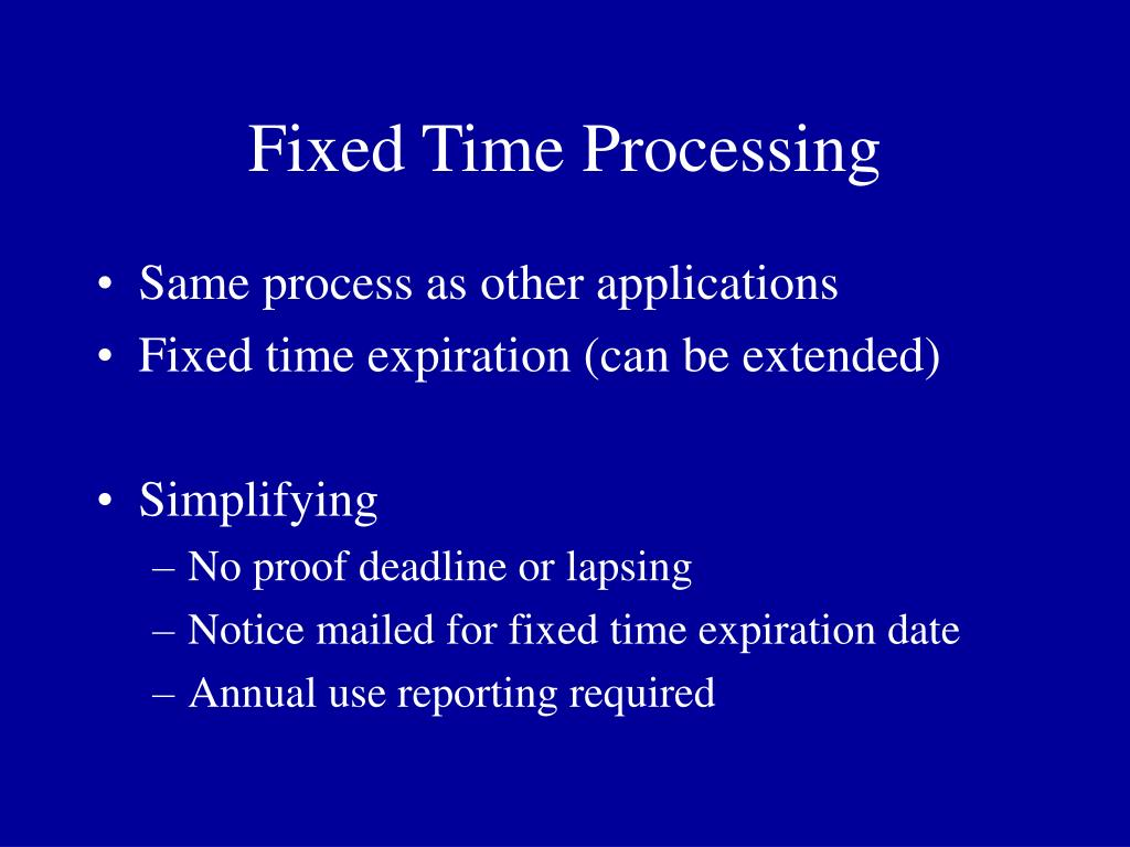 Fixed Time Processing