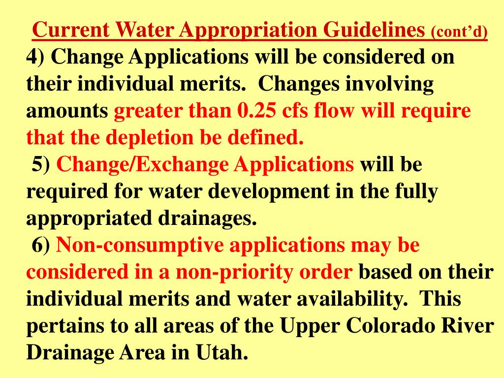 Current Water Appropriation Guidelines
