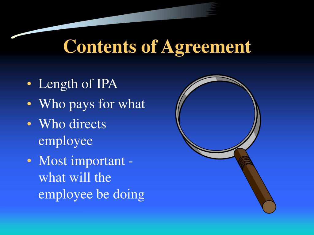 Contents of Agreement