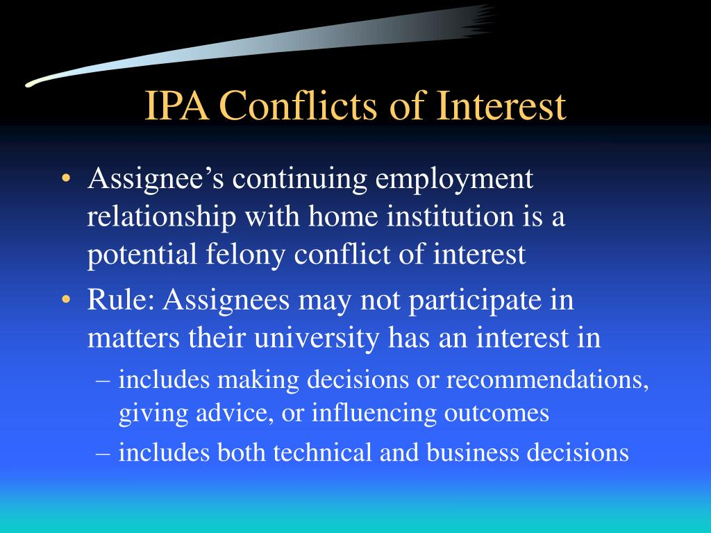 IPA Conflicts of Interest